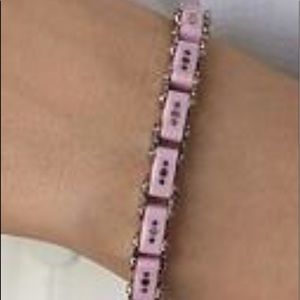 Thin Pink & Silver Bicycle Bracelet